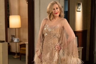 Moira Rose (Catherine O'Hara) in one of the many zany outfits in series six of Schitt's Creek.
