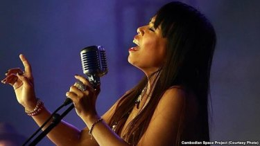 Cambodian singer Kak Channthy, the lead singer and songwriter of the Cambodian Space Project