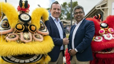 Premier Mark McGowan and Labor candidate for Riverton Jagadish 'Dr Jags' Krishnan at Chung Wah Association's community centre.