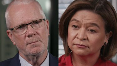 Former ABC chairman Justin Milne and ex-managing director Michelle Guthrie.