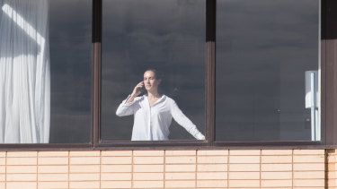 A woman in Melbourne's hotel quarantine program earlier this month.