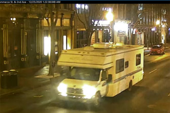 This image taken from surveillance video provided by Metro Nashville PD shows a recreational vehicle that was involved in a blast on Christmas day in Nashville.