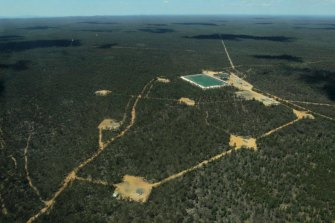 The Bibblewindi ponds, part of Santos' Narrabri coal seam gas project, in the Pilliga State Forest.