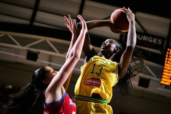 Ezi Magbegor scored 15 points for the Opals during their second-round clash with Puerto Rico.