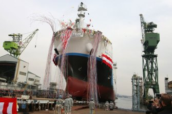The word's first liquid hydrogen ship, the Suiso Frontier, is christened at the Kobe Works yard in Japan.