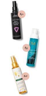 Aveda Speed of Light Blow Dry Accelerator Spray, $40. Moroccanoil Protect & Prevent Spray, $35 Klorane Sun Radiance Protective Oil, $16.