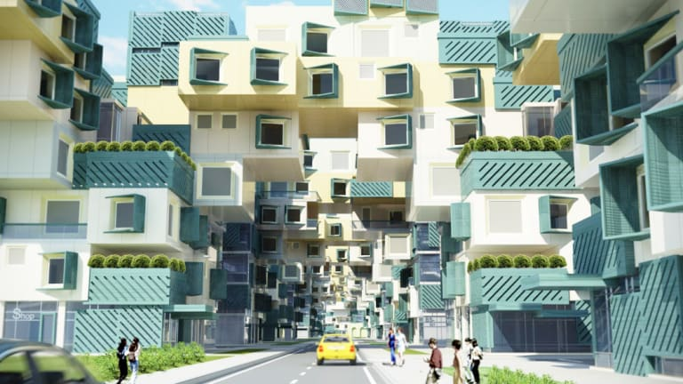 Marwa Al-Sabouni's 2014 design proposal for Baba Amr, Homs. 3D Max rendering by Khlaed Komi.