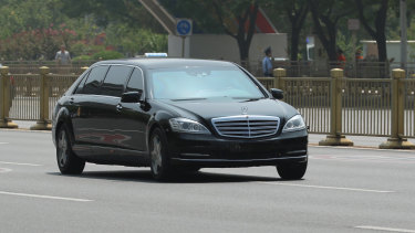 Kim Jong-un's car, a Mercedes, in Beijing during a meeting with Xi Jinping earlier this year.