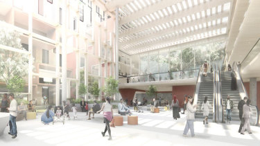 An artist's impression of the new Footscray hospital foyer.