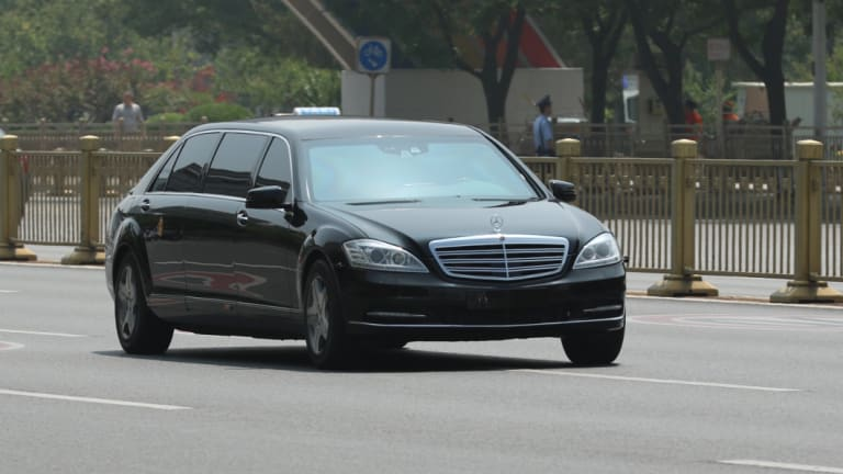 Kim Jong-un's car in Beijing during a meeting with Xi Jinping.