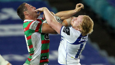 Handbags: Sam Burgess and James Graham get into a fight way back in 2012.