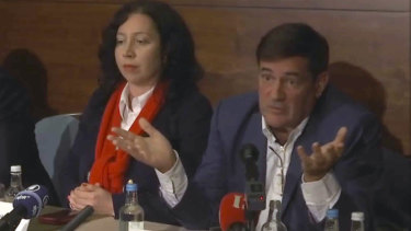 Herve Jaubert (right), a former French spy, speaks during a press conference in 2018 about Sheikha Latifa's disappearance.