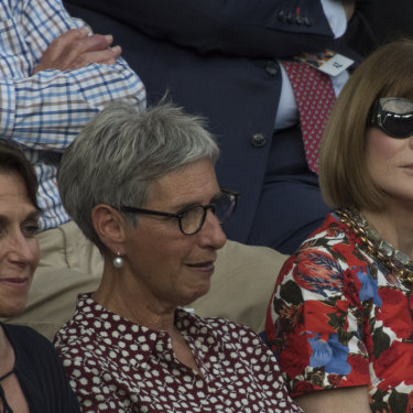 From left, Jayne Hrdlicka, Victorian governor Linda Dessau and Vogue editor-in-chief Anna Wintour at the Australian Open in January.