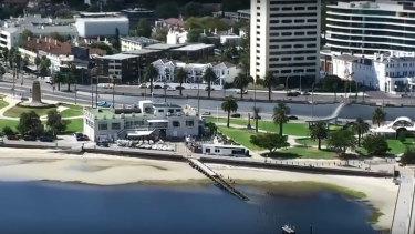 Drone footage shows St Kilda beach empty on Saturday morning.