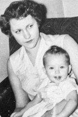 Sharon Stone as a toddler with her mother in 1960.