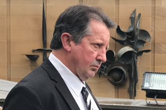 Former Meals on Wheels Tasmania chief Sean Peter Burk outside Hobart Supreme Court on Wednesday.