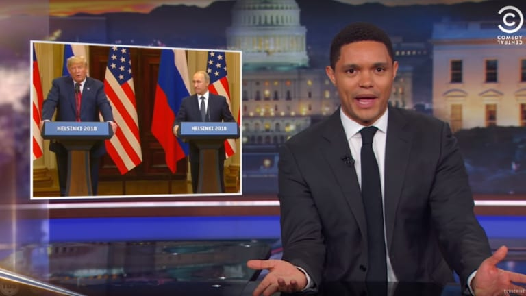 Daily Show host Trevor Noah with one of his favourite targets.