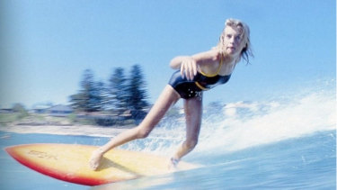 Pam Burridge, aged 14, surfing at North Avalon, 1979.