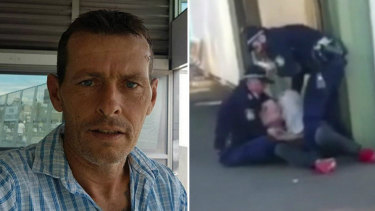 Jason McGoldrick, 50, has been charged after allegedly tasering a police officer at a train station in Sydney's south-west.