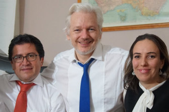 Julian Assange with his partner Stella Moris-Smith Robertson and his Ecuadorian counsel, Carlos Poveda, in an undated picture supplied by WikiLeaks.