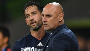 Bittersweet: captain Carl Valeri and coach Kevin Muscat during their last game with Melbourne Victory in the, AFC Champions League Group F match against Sanfrecce Hiroshima at AAMI Park.