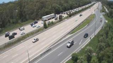 The view from a south-facing traffic camera on the M1 at Coomera about 11am on Monday.
