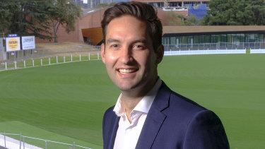 Josh Burns, Labor candidate for Macnamara at the Port Melbourne football ground