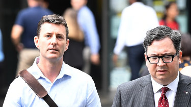 Mathew Low (left) arriving to hear the coroner's findings.