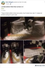 """A pair of """"limited edition"""" Nike sneakers for sale on Facebook Marketplace."""