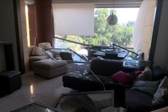 A photo of Samah Hadid's flat before she fled after the Beirut explosion.