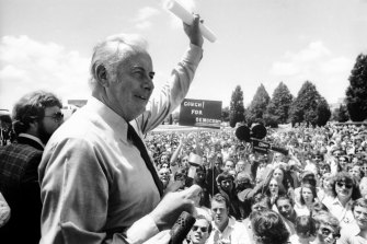 Gough Whitlam addresses a Labor rally outside of Parliament House in Canberra, 1975