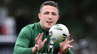 Sam Burgess at Rabbitohs training at Redfern Oval in the lead-up to their finals clash with Melbourne in September..