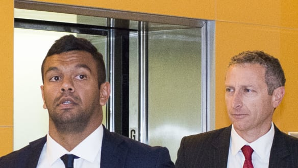 Kurtley Beale leaving then-Australian Rugby Union headquarters after fronting a disciplinary tribunal in 2014.
