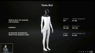 Elon Musk introduces a prototype humanoid robot during a Tesla livestream.