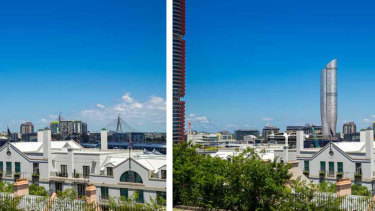 Artists impression of The Star's proposed tower. Existing (left) and proposed (right) south east view from Sydney Observatory. Taken from the Department of Planning and EnvironmentStar Casino Modification Assessment Report, July 2019.