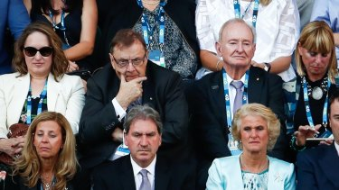 Former Tennis Australia director Harold Mitchell (centre) at the Australian Open.
