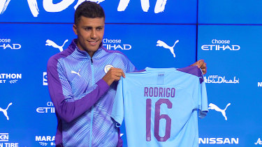 Blockbuster signing: Rodri shows off his new colours.