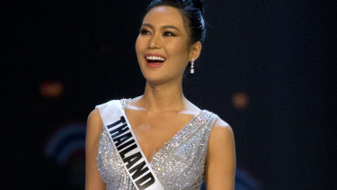 Thailand's Miss Universe contestant, Sophida Kanchanarin, models in the evening gown part of the event.