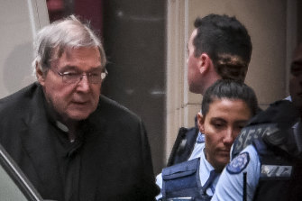 George Pell arrives at the Supreme Court on Thursday for the second and last day of his appeal.