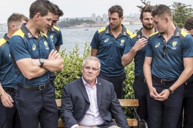 Prime Minister Scott Morrison hosts the Australian & New Zealand cricket teams at Kirribilli House. 1st January 2020 Photo: Steven Siewert