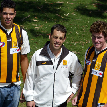 Fresh faces: Newly drafted Lance Franklin and Jarryd Roughead with coach Alastair Clarkson.