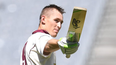 Impressing: Marnus Labuschagne, seen here batting for Queensland, has quickly made an impact in Dubai.