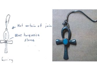 A sketch of the earring Hayley was wearing the day she vanished, drawn by her friend, and the earring found by police in the ute Wark was driving.