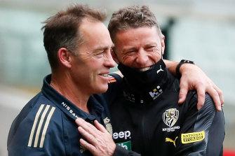 Rivals, yet friends: Alastair Clarkson and Damien Hardwick.