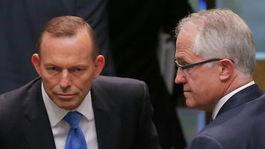 Tony Abbott and  Malcolm Turnbull at the end of question time, just before the leadership spill was called in 2015.