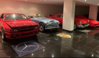 Impressive collection: The sparkling luxury cars in the Bellagio's basement,