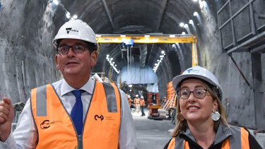 Premier Daniel Andrews and Transport Minister Jacinta Allan inspect progress at the State Library station of the Metro Tunnel recently.