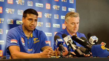 Ex-Geelong star Tim Kelly with West Coast coach Adam Simpson in Eagles colours after the clubs completed a successful trade for the 25-year-old.