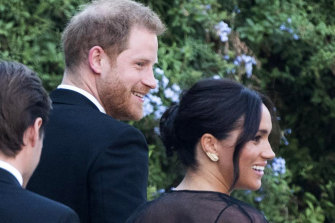 Prince Harry and Meghan arrive at the wedding in Rome.