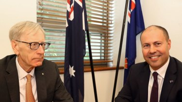 Commissioner Kenneth Hayne and Treasurer Josh Frydenberg (right).